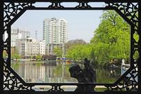 安徽省合肥市花窗外的包河湖