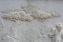 一棵枝叶茂盛的大树壁雕
