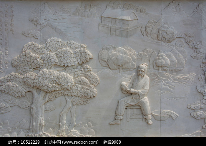 张果老树旁坐凳子手拿鞋子壁雕图片