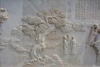 街市上一棵大树与做买卖双方壁雕