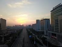 航拍城市夕阳西下风光