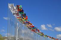 各国旗帜飘扬