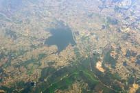 航拍安徽含山县长山水库及周边