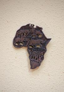非洲地图动物木雕