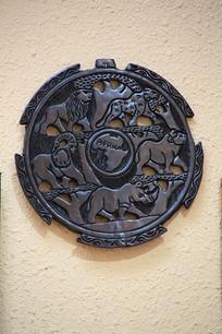 非洲动物木雕盘