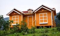 山坡上的彩色木房屋