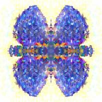 蓝色抽象数码花型