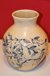 米色樹枝樹葉圖案陶瓷罐
