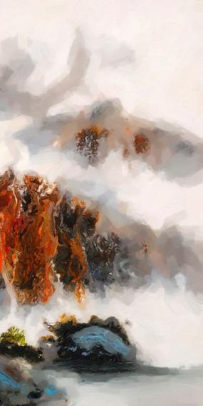 新中式中国风竖版玄关风景画