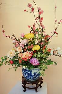 青花瓷花卉盆花盆景