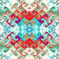 四方连续纹印花
