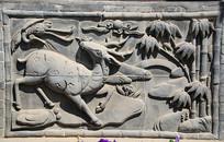 竹林梅花鹿砖雕