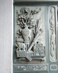 闽南古大厝石雕浮雕花瓶
