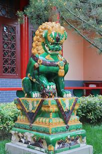 绿釉黄釉狮子门墩