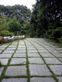 公园庭院石板路