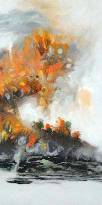 中国风水墨山水壁画