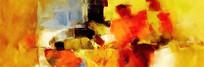 横幅手绘抽象油画