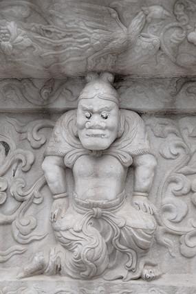 北海公园万佛楼石碑力士雕塑
