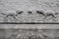 北海公园万佛楼石碑狮子雕塑
