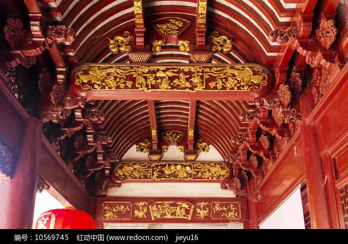 慈城城隍庙硬山顶内部木雕图案图片