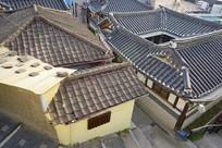 俯拍韩国首尔北村韩屋村