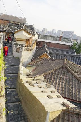 俯拍韩国首尔北村韩屋村民房
