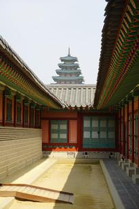 韩国景福宫远眺民俗博物馆塔楼