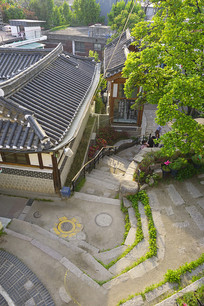韩国首尔北村韩屋村俯拍