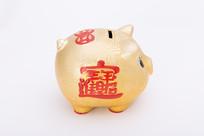 招财进宝金色猪型陶制存钱罐