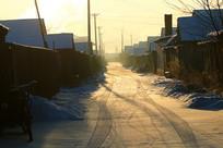 大兴安岭森林小镇小巷雪景