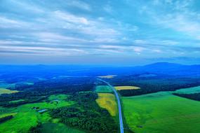 航拍穿越绿色田野的道路