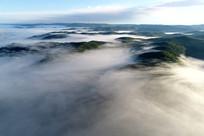 航拍大兴安岭山林云雾