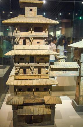 绿釉陶望楼模型