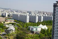 韩国水原公园及露天音乐厅俯拍