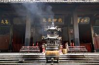 市都江堰二王庙庭院及香炉