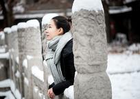美女古遗址旁眺望雪景
