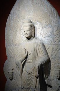 精美的北朝石刻一佛二菩萨像