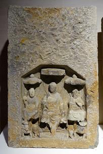 唐代石刻一佛二菩萨像龛