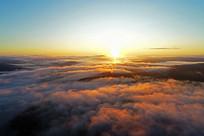 大兴安岭山林云海日出风景