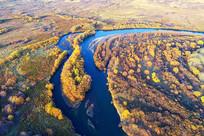 航拍丛林河湾秋色风景