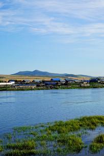 河岸乡村农家风景