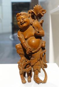 精美清代木雕和合二仙像