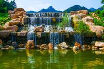 千山桃花溪谷堤坝与瀑布