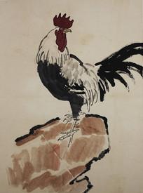徐悲鸿岩石上的公鸡图
