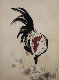 徐悲鸿花鸟飞禽册-单脚站立的公鸡