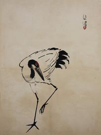 徐悲鸿花鸟飞禽册-单脚站立的仙鹤