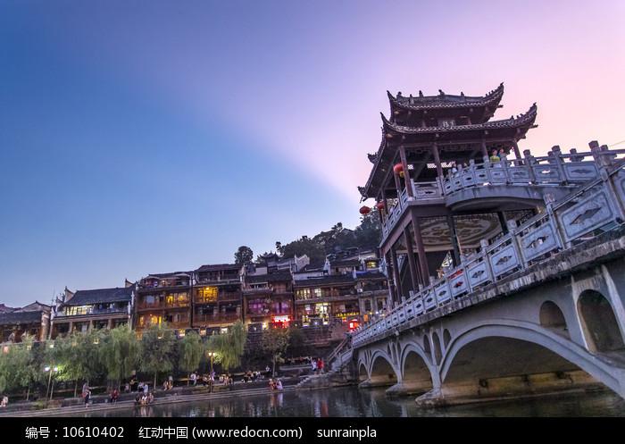 凤凰古城云桥晚霞图片