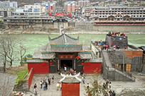 甘孜红色旅游景区泸定桥俯拍