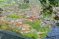 俯拍贵州西江千户苗寨村寨