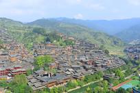 贵州西江千户苗寨村寨俯拍